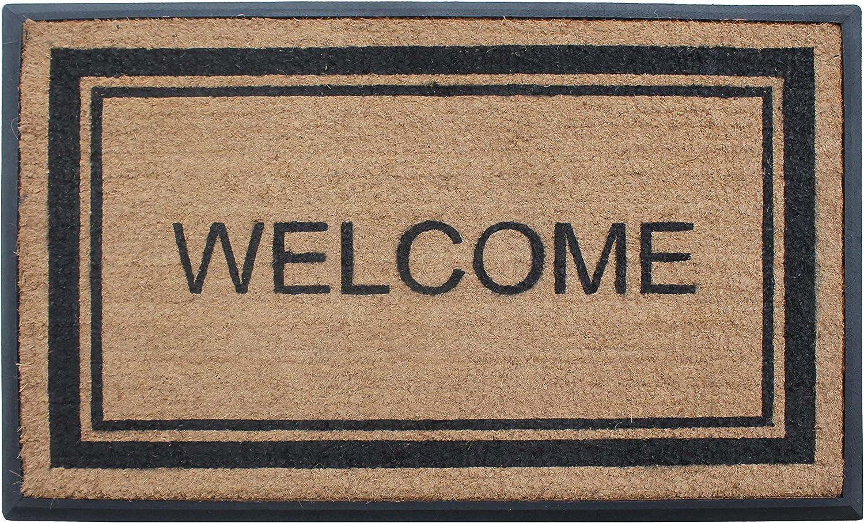 "A1 Home Collections Door Mat - Welcome - Plain Border Rubber and Coir Large Outdoor Mat Doormat, 30"" x 48"", Black"