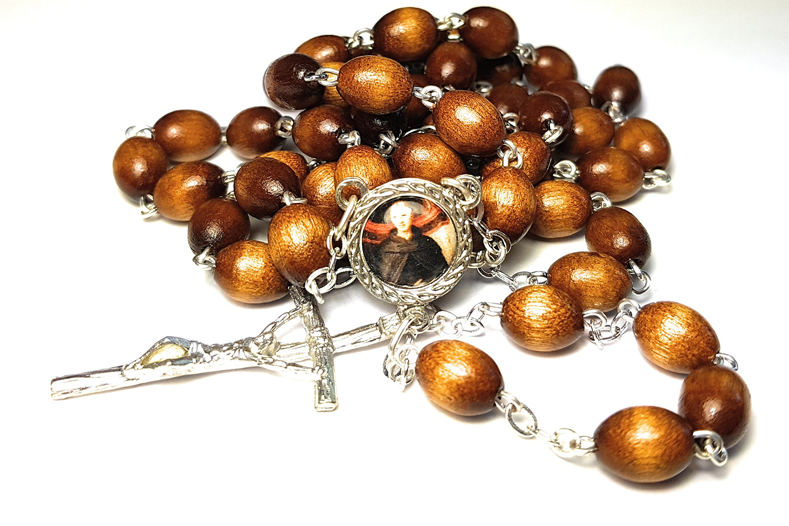 Relic Rosary 3rd class of Saint Nicholas of Tolentino patron of animals; babies; boatmen; souls in purgatory, Philippines San Nicolás de Tolentino sacerdote, místico católico italiano (Brown)
