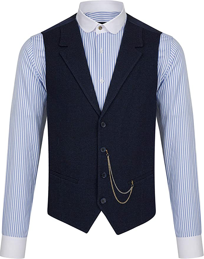 1920s Men's Fashion UK | Peaky Blinders Clothing Jack Martin - Navy Patterned Collared Tweed Waistcoat £39.00 AT vintagedancer.com