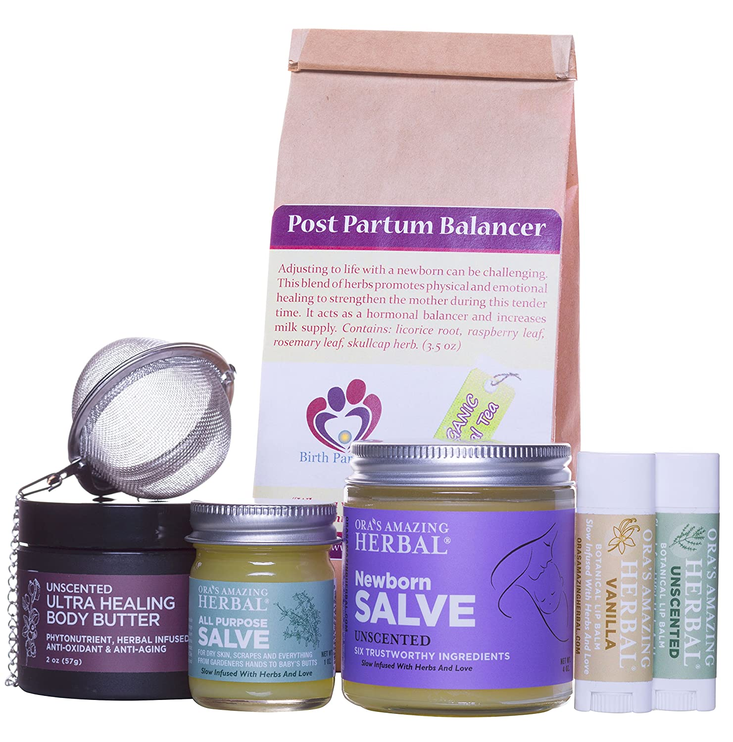 New Mama Natural Gift Box For A New Mother, With Organic Herbal Tea and Paraben Free Salve (Lotion, Cream, Moisturizer) New Baby Mother Gift, Ora's Amazing Herbal Ora' s Amazing Herbal