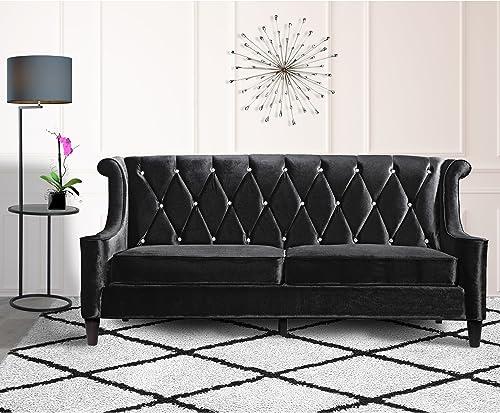 Armen Living LC8443BLACK Barrister Sofa