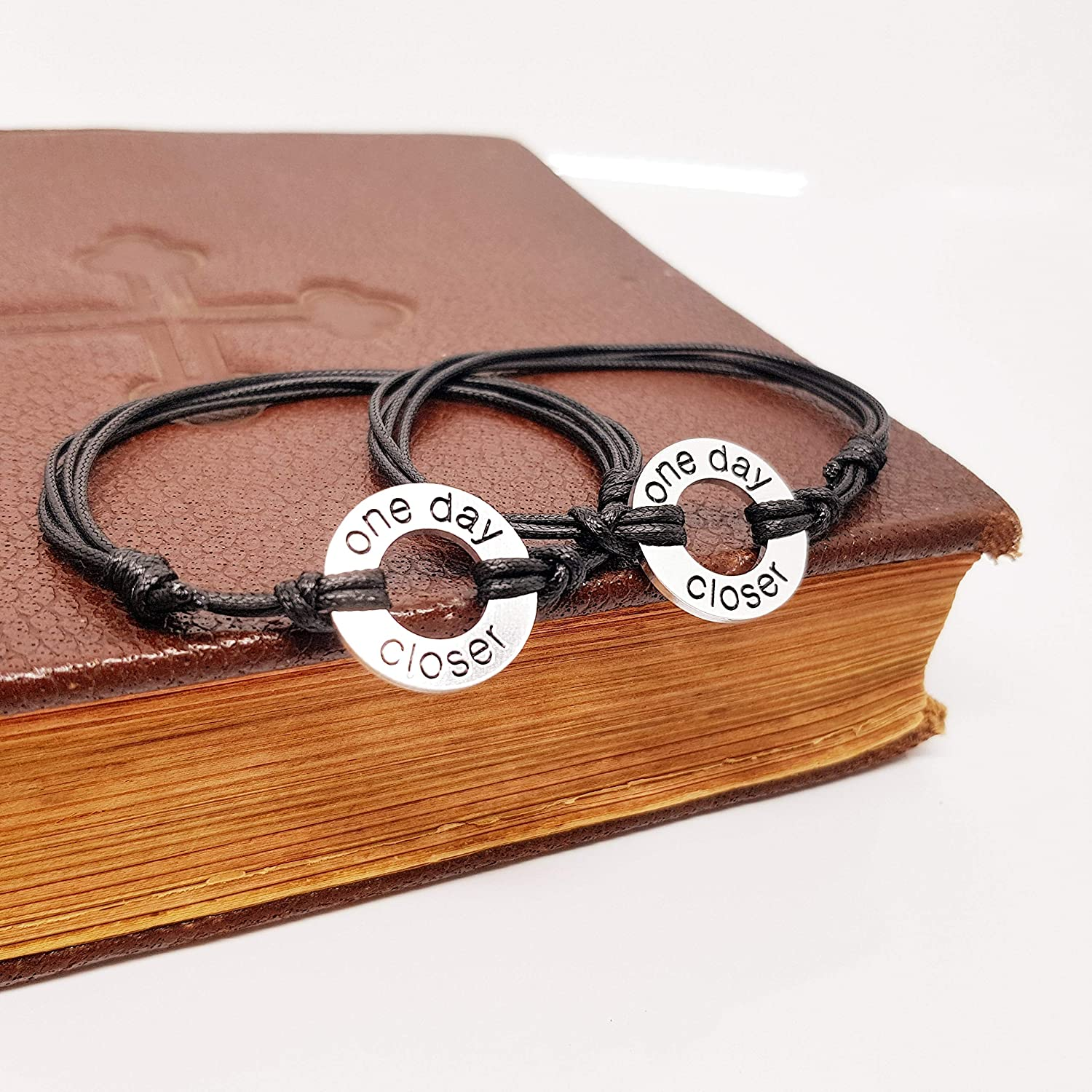 Anniversary gifts for men Washer Bracelet Couples Gifts Set of 2 Boyfriend Gift One Day Closer PJGWBODC Long Distance Relationship Deployment ...