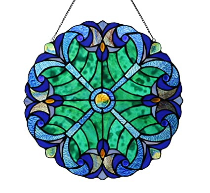 Happy Living Time Stained Glass Panel 12 Inch 16 Inch Decorative Window Hanging Suncatcher Small Round Tiffany Style Ornament Blue Heart