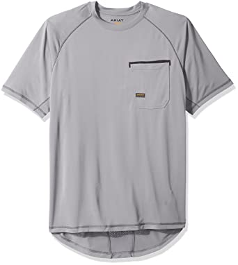 a0dfb5633514 Ariat Men's Big and Tall REBAR Short Sleeve Sunstopper, Gray, Large- Tall