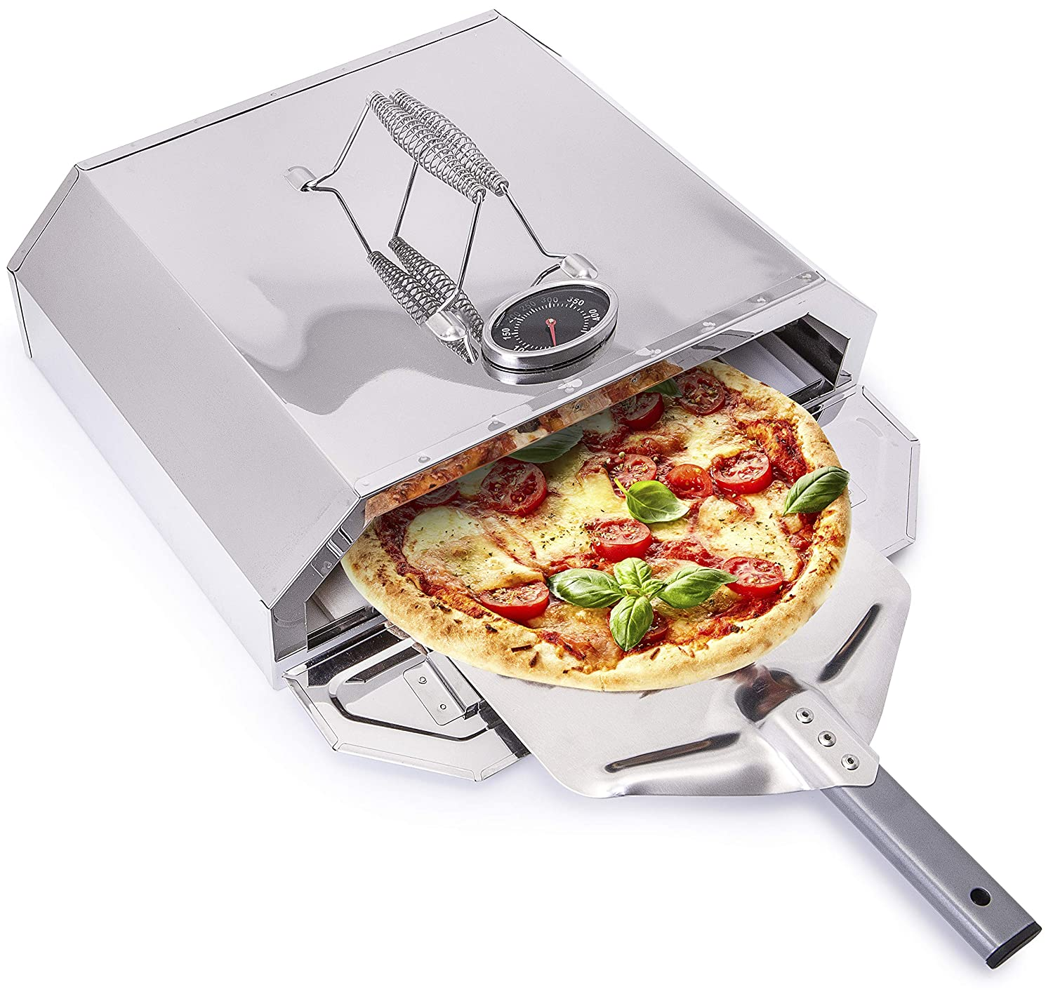 Stone Base Garden Parties Will Never Be the Same Again with this Amazing Pizza Grill Forno BBQ Pizza Oven Temperature Gauge Steel Box the Perfect Portable Outdoor Oven with Bonus Pizza Paddle