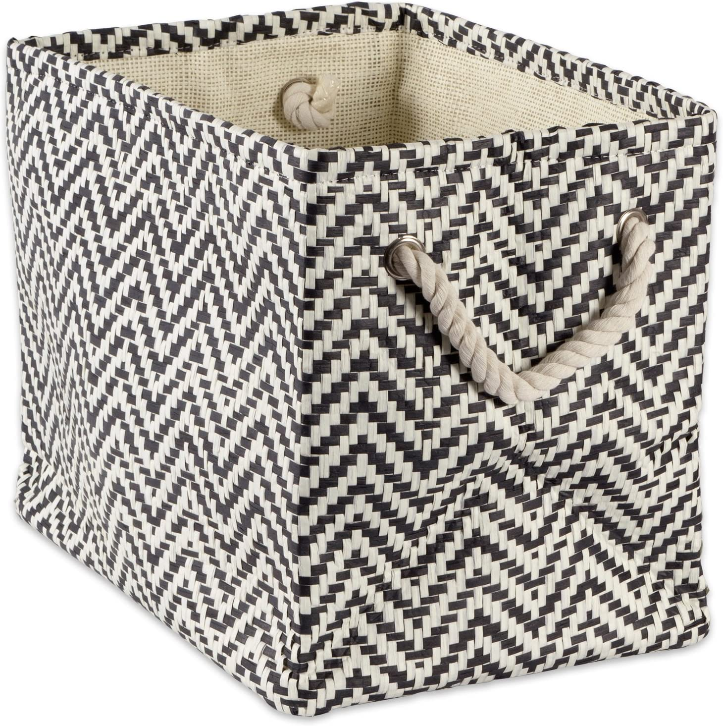 """DII Woven Paper Storage Basket or Bin, Collapsible & Convenient Home Organization Solution for Office, Bedroom, Closet, Toys, & Laundry (Large – 17x12x12""""), Black Chevron"""