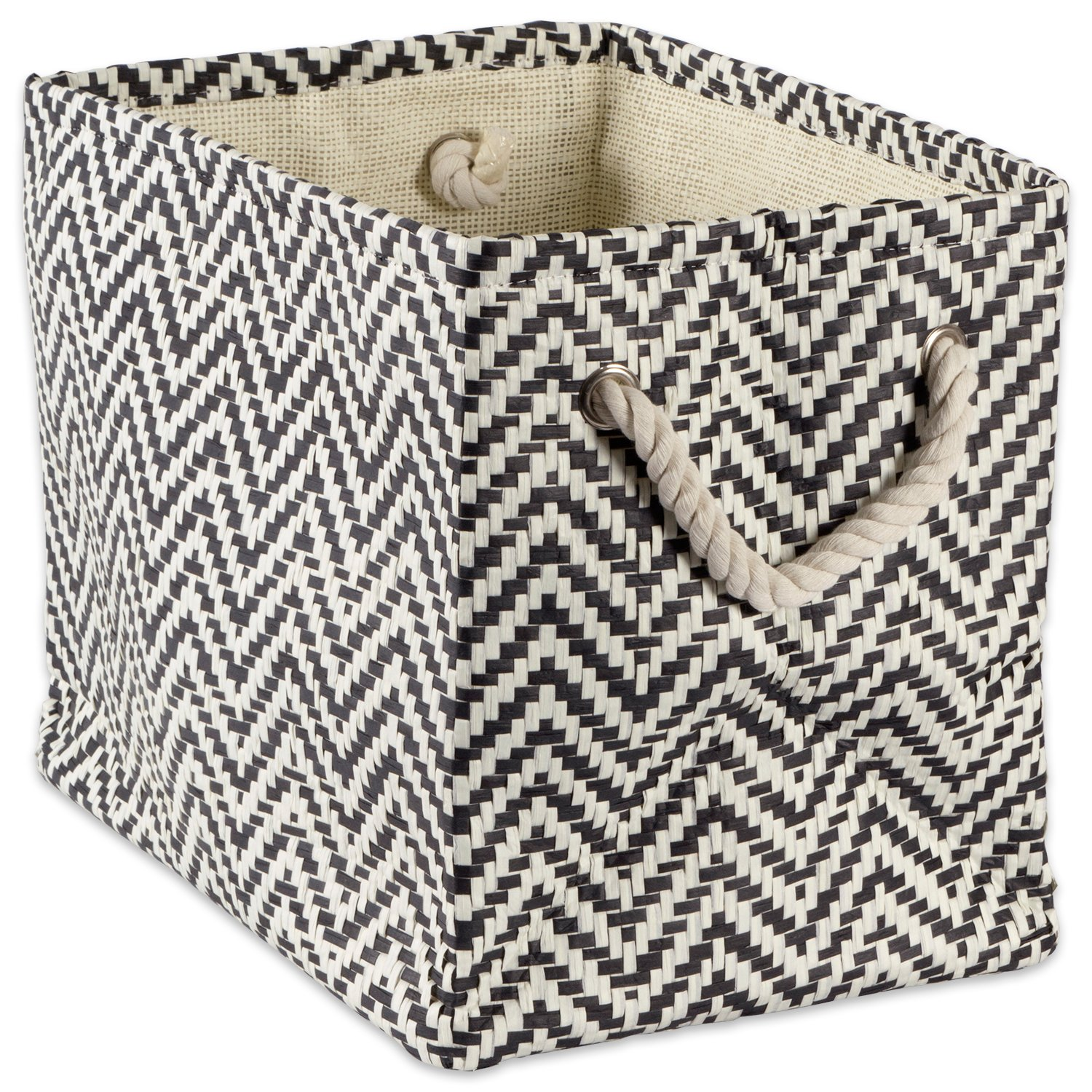 """DII Woven Paper Storage Basket or Bin, Collapsible & Convenient Home Organization Solution for Office, Bedroom, Closet, Toys, & Laundry (Small - 11x10x9""""), Black Chevron"""