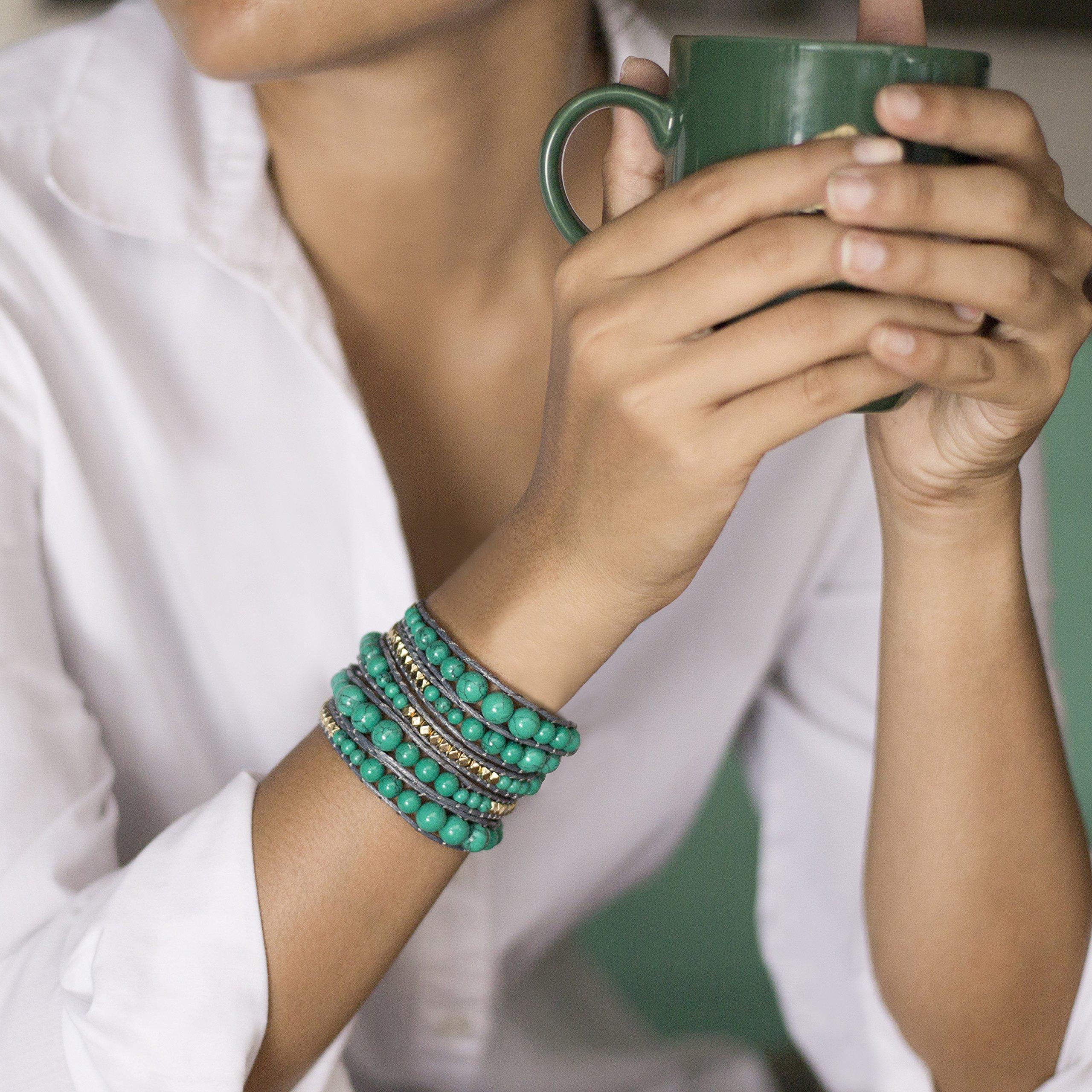 Genuine Stones 5 Wrap Bracelet - Bangle Cuff Rope With Beads - Unisex - Free Size Adjustable (Turquoise) by Sun Life Style (Image #2)