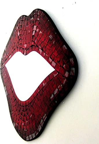 OMA Lips Mirror Wall Art Hanging Decor Kissing Red Lips Mosaic Glass – Large Size, Brand
