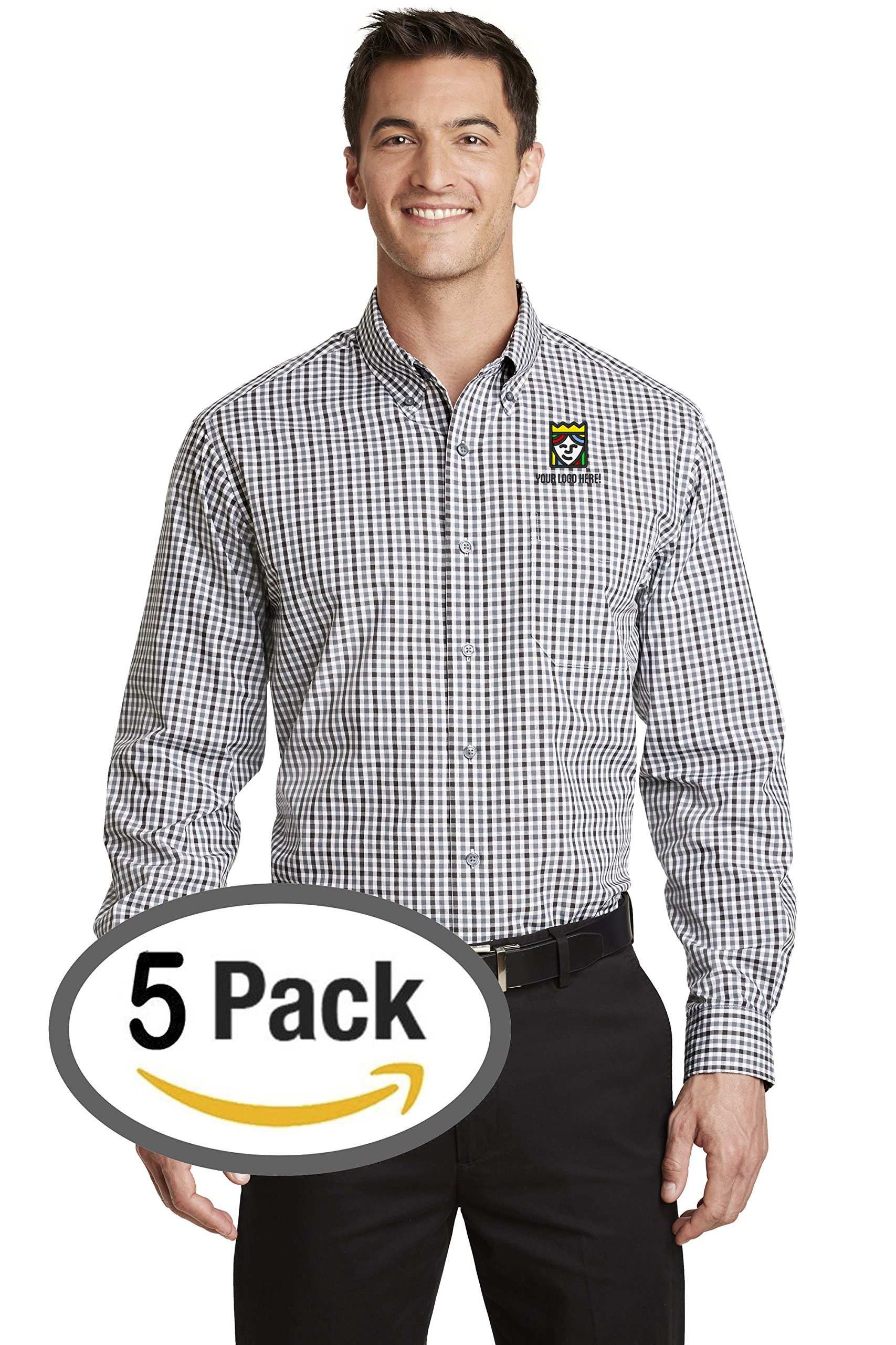 Custom Embroidered Port Authority Long Sleeve Gingham Easy Care Shirt – Pack Of 5 by Queensboro Shirt Company