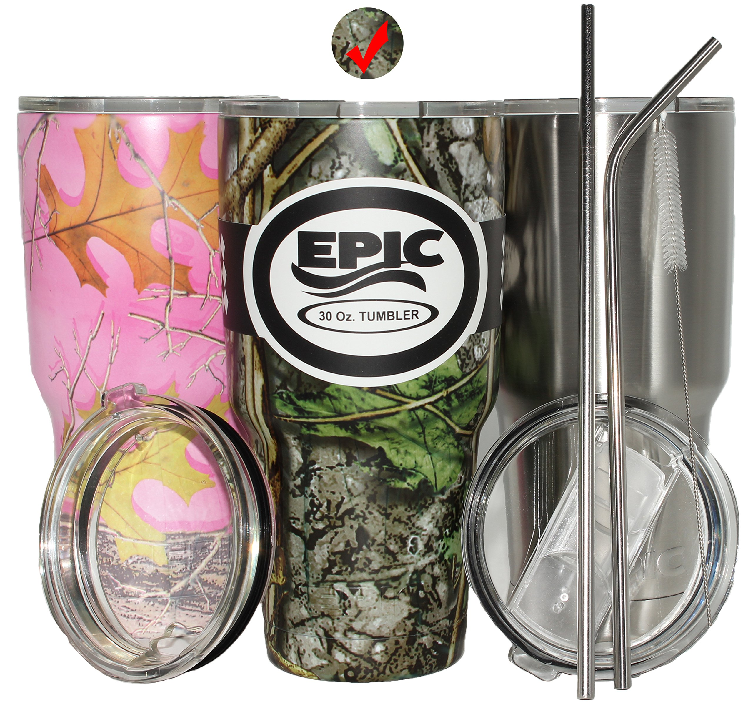 Camo Travel Insulated 30 oz Tumbler - Coffee Mug with 2 Lids and 2 Stainless Steel Straws, 30 oz- Green Camouflage Tumbler by EPIC