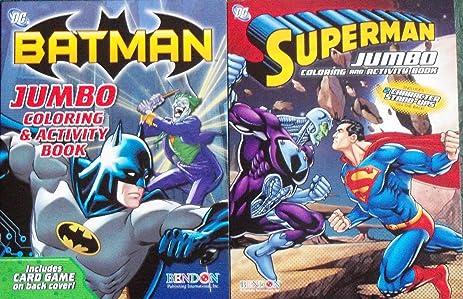 DC Comic Jumbo Coloring Activity Book Set Batman Superman