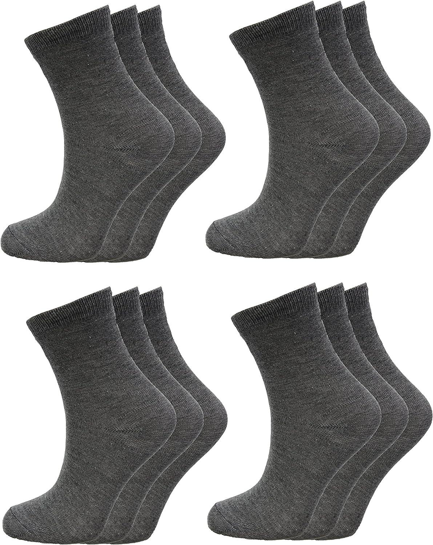 Childrens Kids Back To School Socks Plain Cotton Rich Unisex UK All Colours