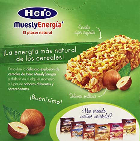 Barrita Hero Muesly Energía Avellanas - Pack de 6 x 25 g - Total: 150 g: Amazon.es: Amazon Pantry