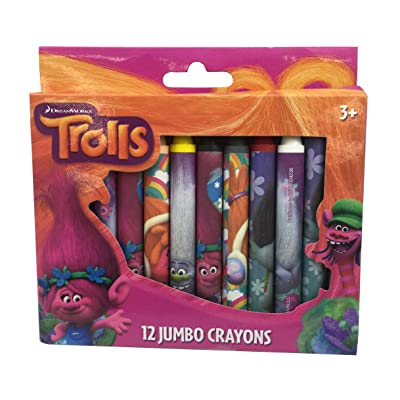 Trolls Jumbo Crayons, Assorted Colors, 12-Crayons per Pack: Toys & Games