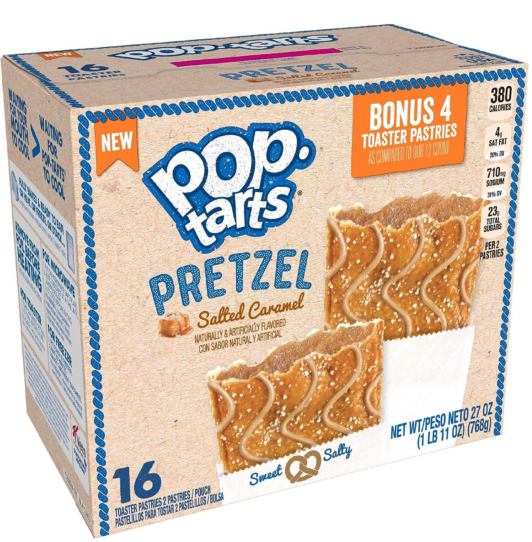 Pop-Tarts Pretzel, Breakfast Toaster Pastries, Salted Caramel, 27oz Box 16 Ct