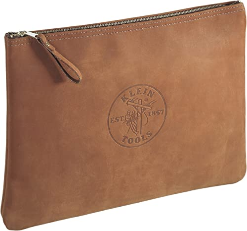 Klein Tools 5136 Contractor s Leather Portfolio with Heavy Duty Zipper Close