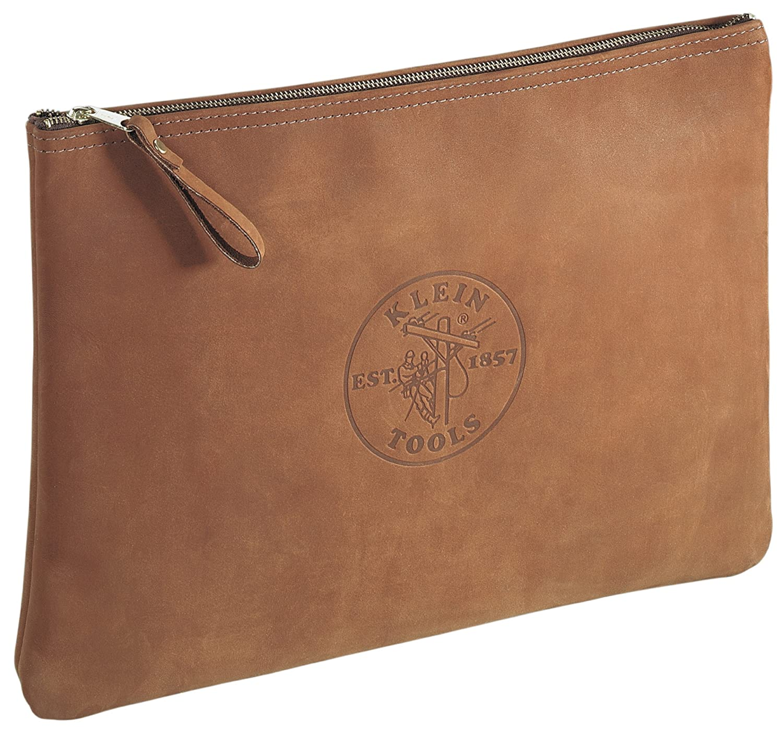 Klein Tools 5136 Leather Contractor's Zipper Portfolio