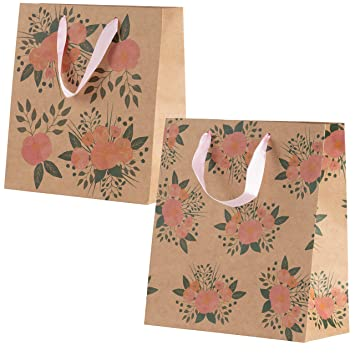 Amazon.com: Bolsas de regalo florales - 24 unidades Kraft ...