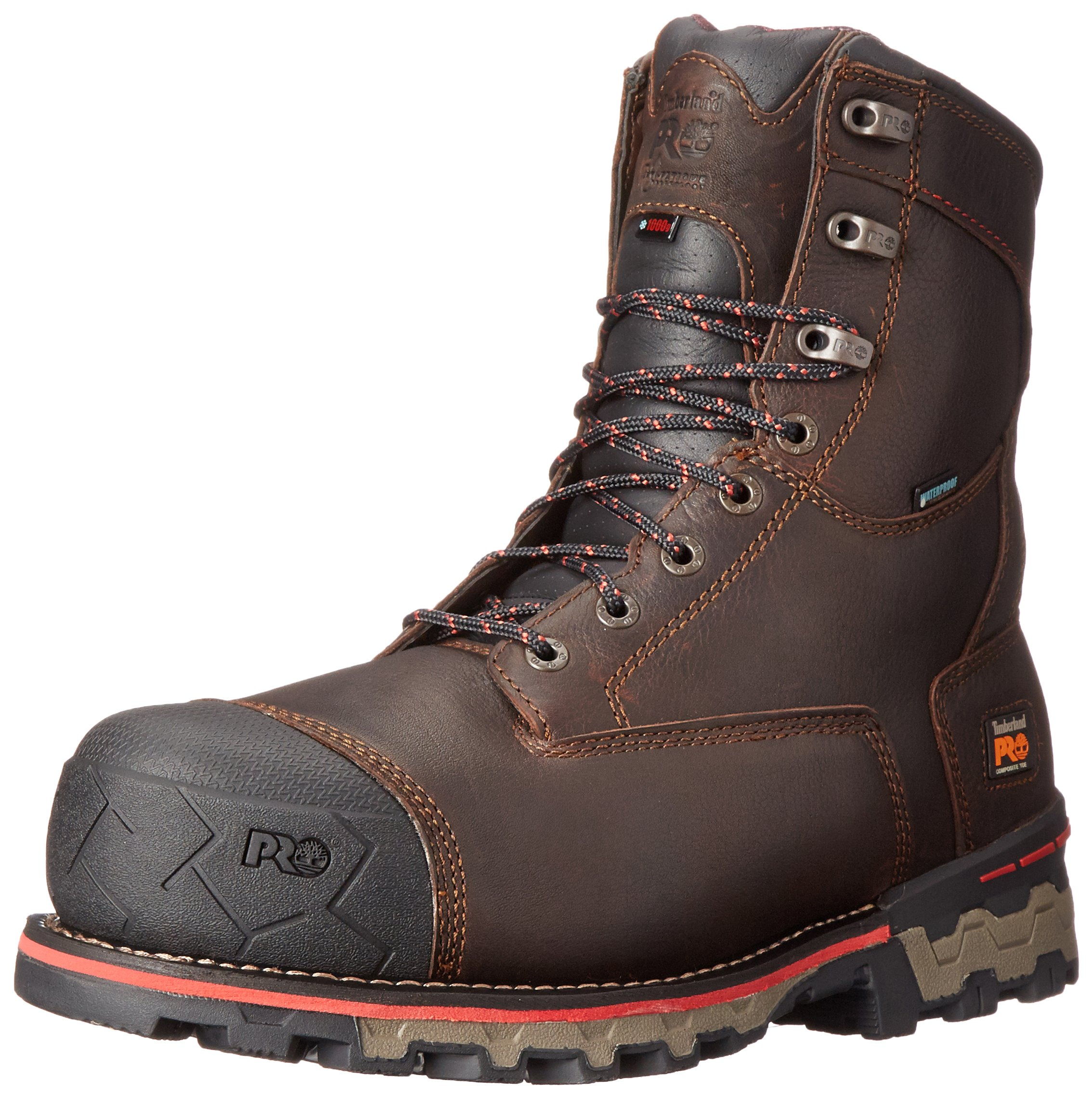 Timberland PRO Men's 8 Inch Boondock Comp Toe Waterproof INS 1000 Work Boot, Brown Tumbled Leather, 11 W US