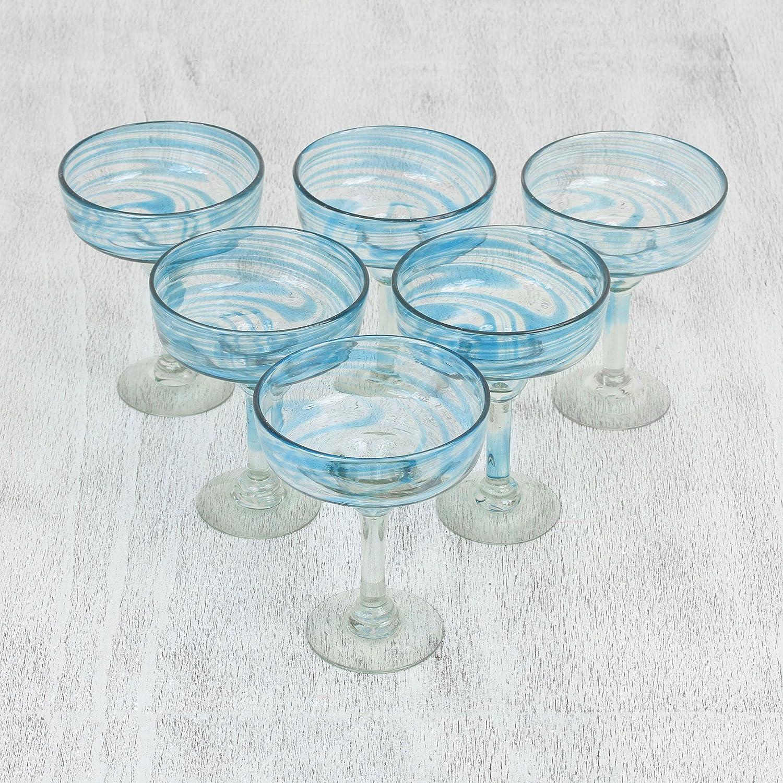 6 Set 6.75Tall Blue NOVICA 321203 Cerulean Threads -Blown Margarita Glasses
