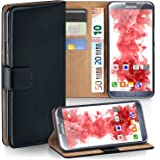 Samsung Galaxy Note 2 Hülle Schwarz mit Karten-Fach [OneFlow 360° Book Klapp-Hülle] Handytasche Kunst-Leder Handyhülle für Samsung Galaxy Note 2 Case Flip Cover Schutzhülle Tasche