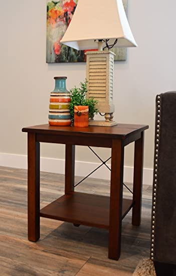 Solid Wood Rustic End Table   Distressed Finish   Bronze Coast Collection    Living Room Furniture