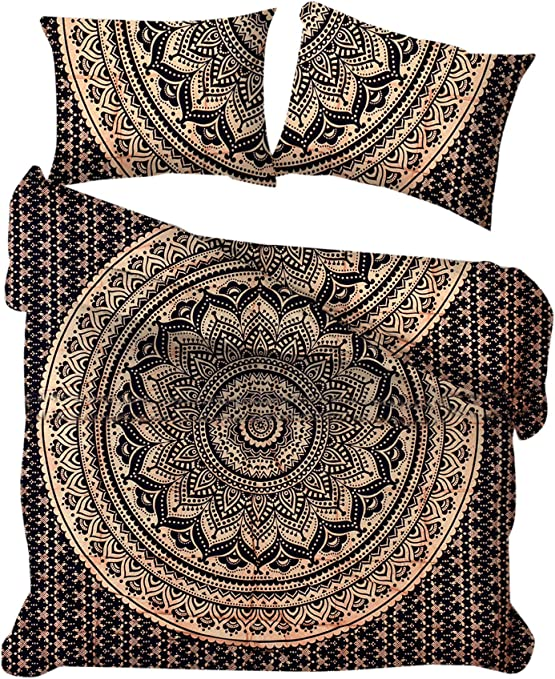 Marusthali Fundas nórdicas Ombre Mandala Doradas y Negras Lanza el lecho de algodón Hecho a Mano Indio Funda Donna Reversible Ropa de Cama Cubierta de edredón Cama en una Bolsa con sábana: