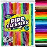 Carl & Kay 348 Pipe Cleaners & 48 Googly Eyes in Zipper Storage Bag, Kid's Arts & Crafts School Supplies, Chenille Stems…