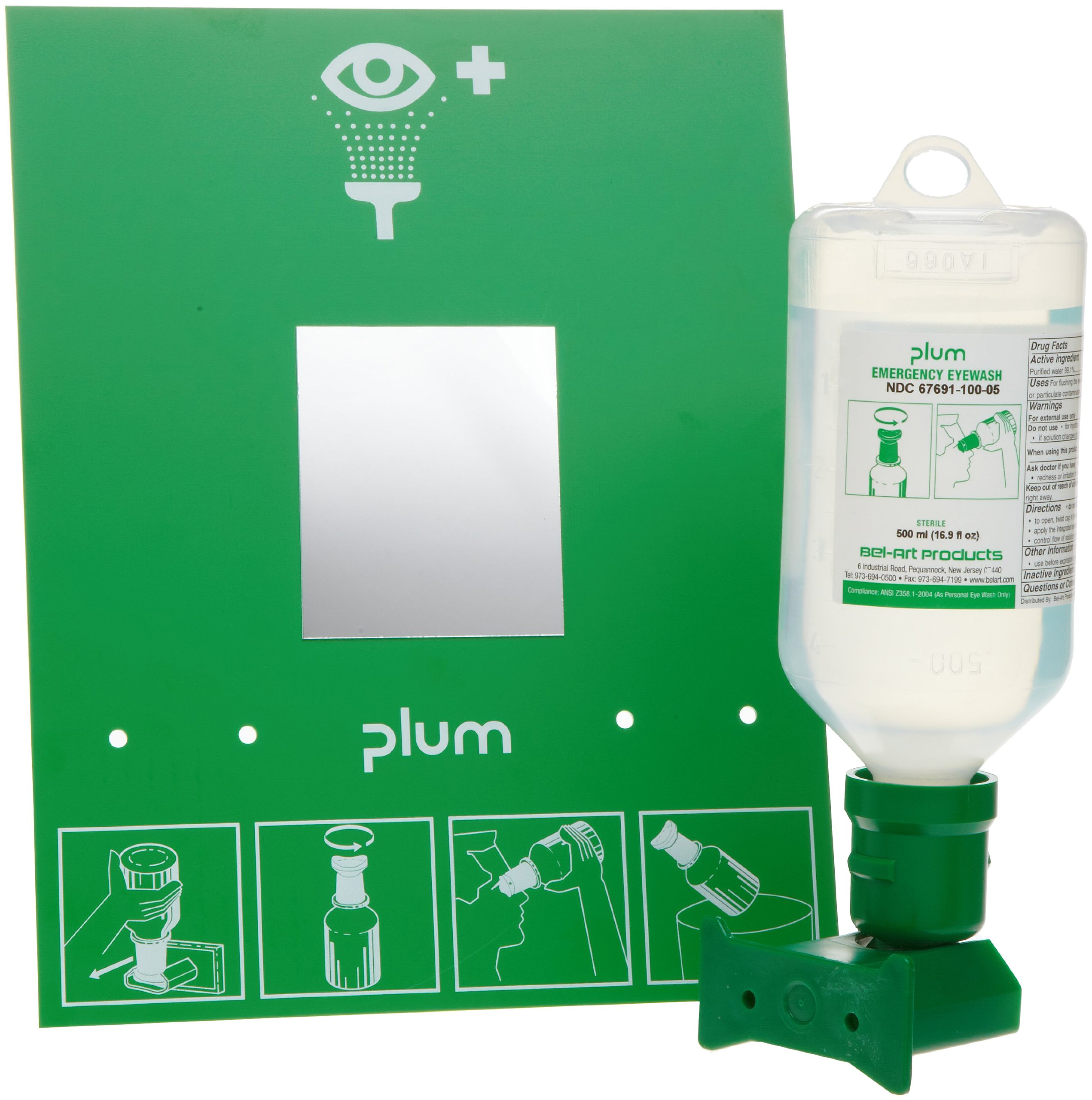 PLUM Open Eye Wash Station; 2 Bottles, 500ml Sterile Saline (x2) (F24880-4002)