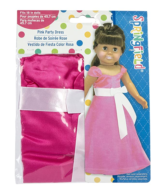Amazon.com: Springfield Collection by Fibre-Craft – Pink Party Dress with Large White Bow – Fits All 18-Inch Dolls – Mix and Match!