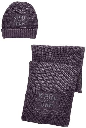 Kaporal , Ensemble de bonnet et écharpe , Uni , Homme , Gris (Grey)