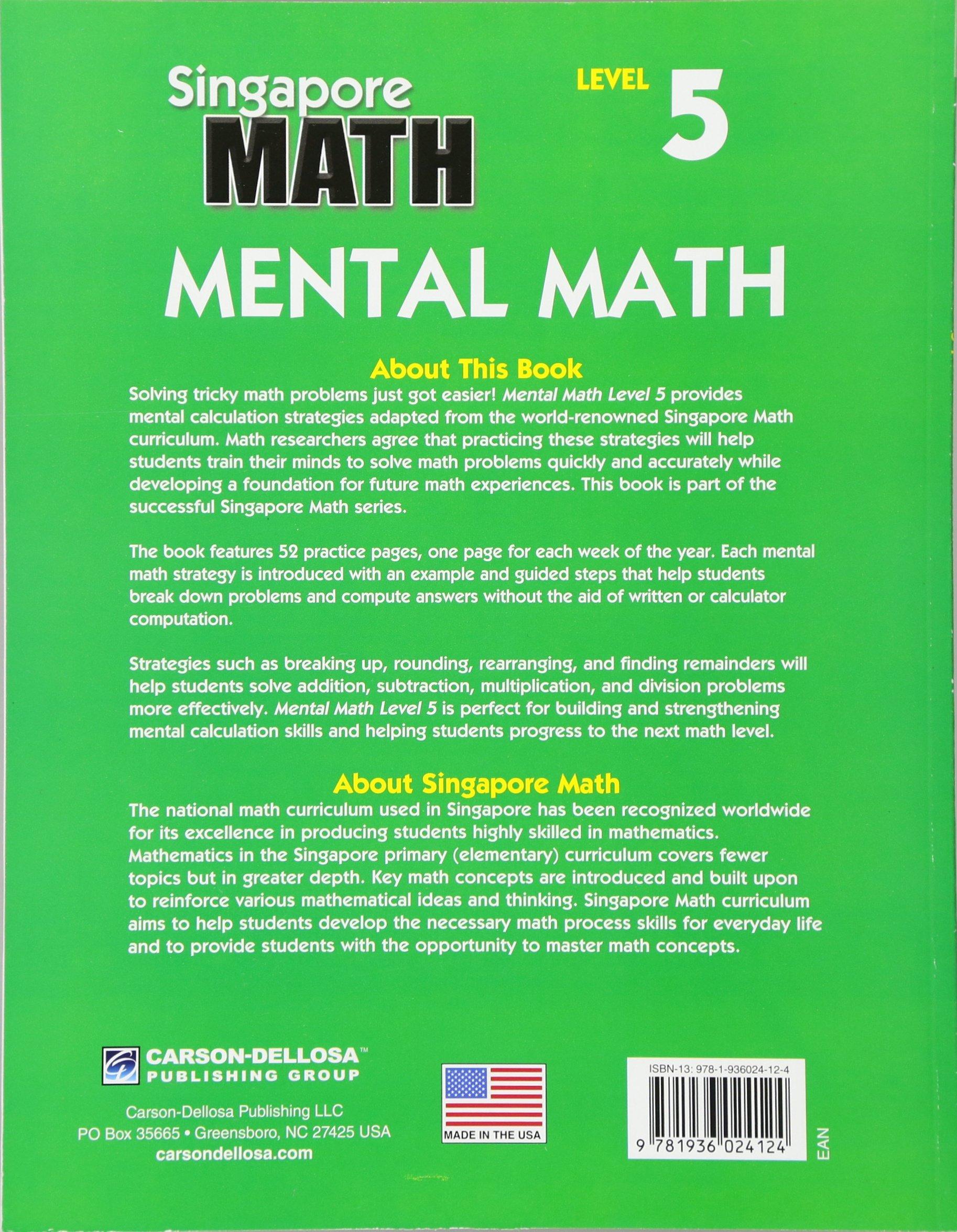 Amazon mental math grade 6 strategies and process skills to amazon mental math grade 6 strategies and process skills to develop mental calculation level 5 singapore math 9781936024124 frank schaffer fandeluxe Choice Image