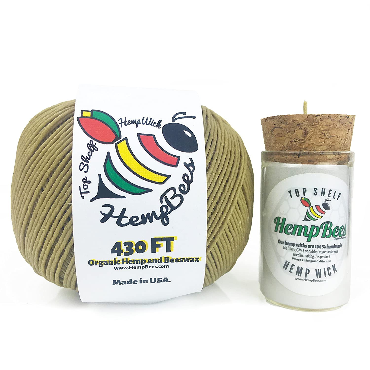430 Ft Organic Hemp Wick Spool Roll Waxed & Coated w/ Natural Beeswax - SLOW BURN & LONG LASTING - Includes Glass Dispenser 20 - 30 ft Holder is Easy to Use & Pass. Hempwick STAYS FRESH & TANGLE-FREE HempBees Hemp Wick