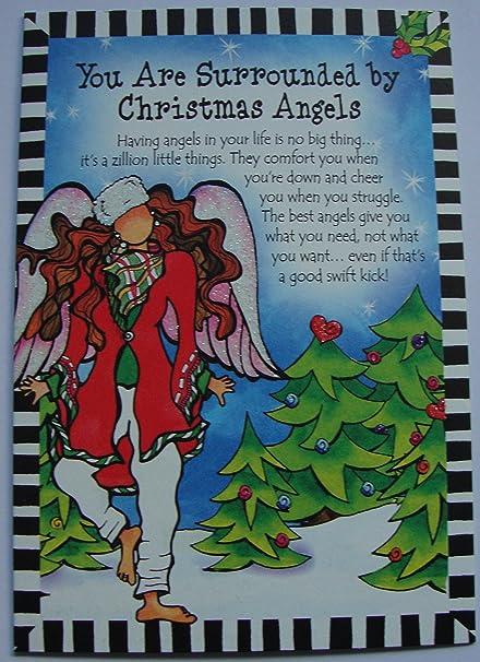 Montaña azul artes rodeado de ángeles de Navidad Tarjeta de ...