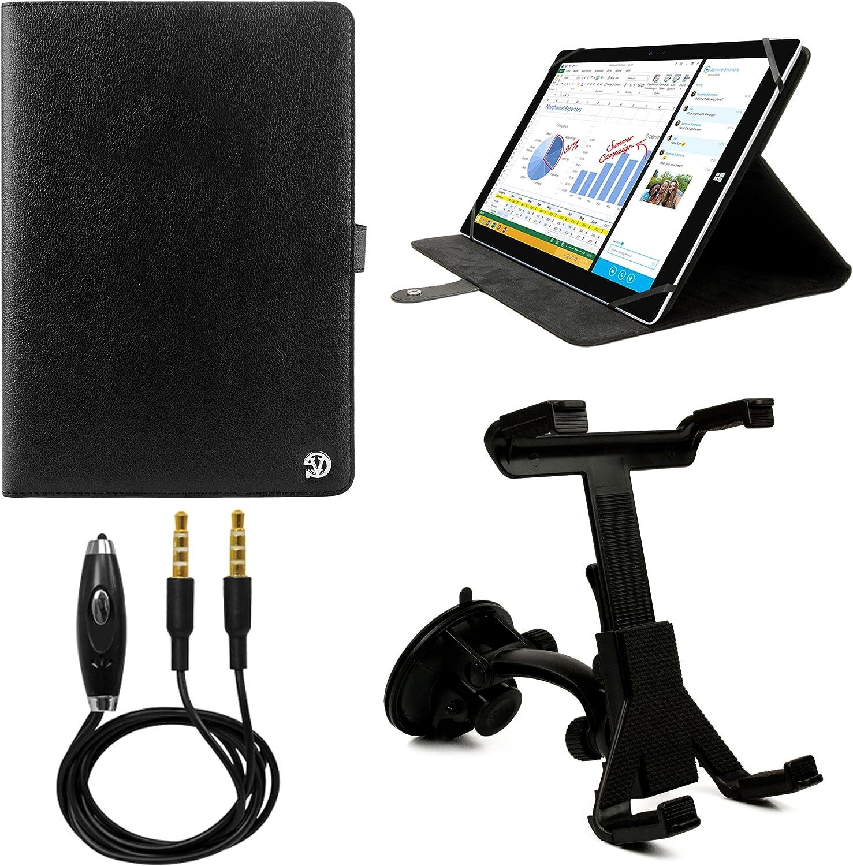 VanGoddy Arthur 12.3-inchタブレットポートフォリオケースHP Pro Slate 12用フロントガラスマウント& 3.5 MM補助ケーブル(ブラック)