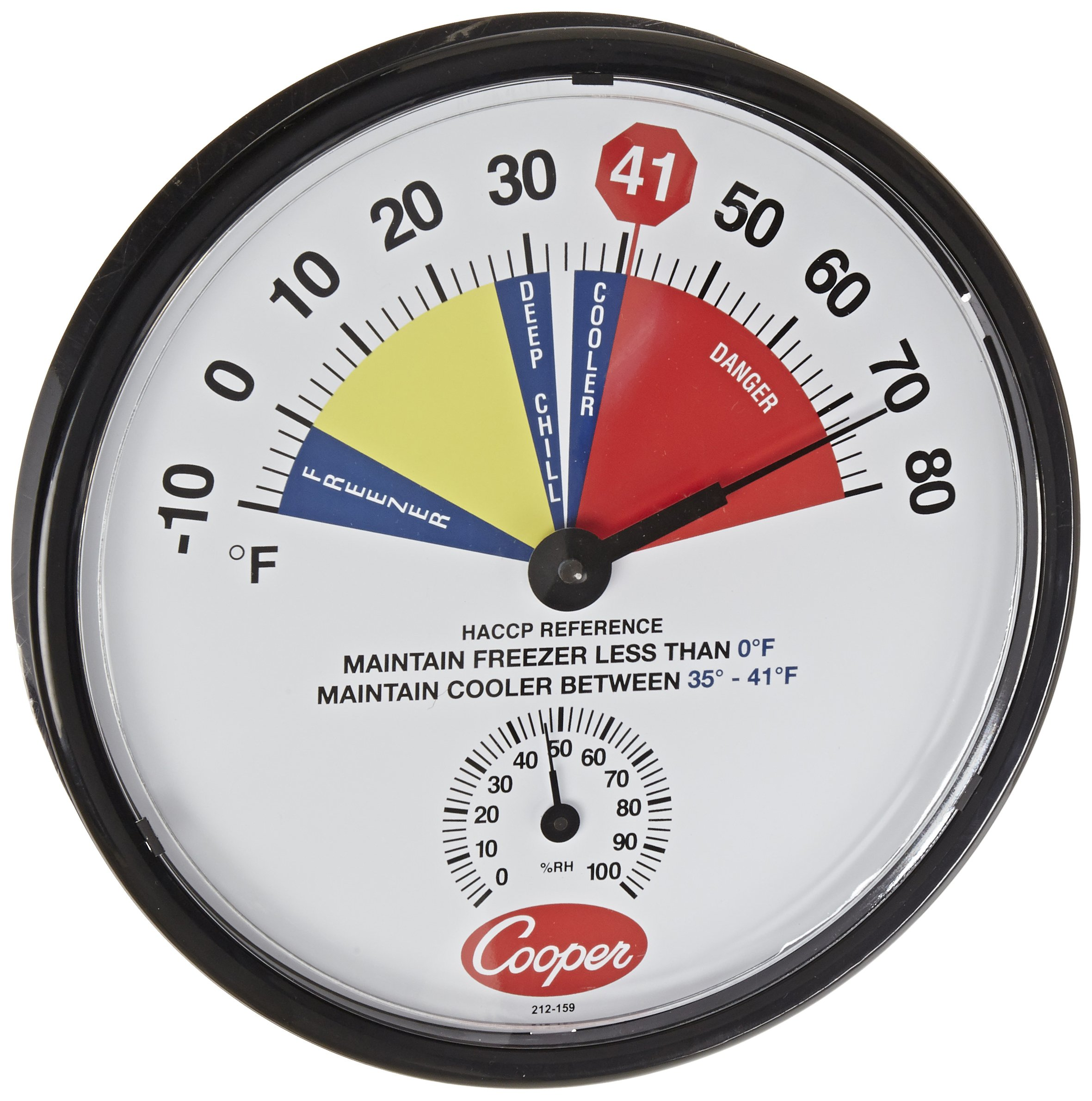 Cooper-Atkins 212-159-8 Bi-Metals HACCP Cooler/Freezer Thermometer, 10 to 80 degrees F Temperature Range by Cooper