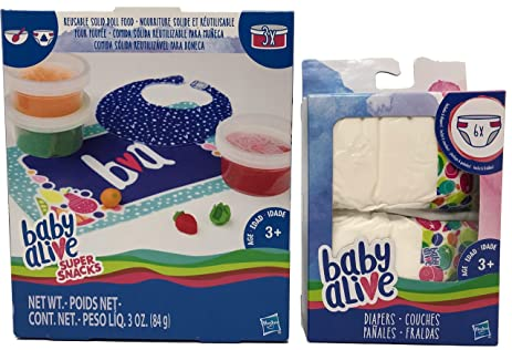 Baby Alive Reusable Solid Doll Food & 6 Diapers Accessory Set