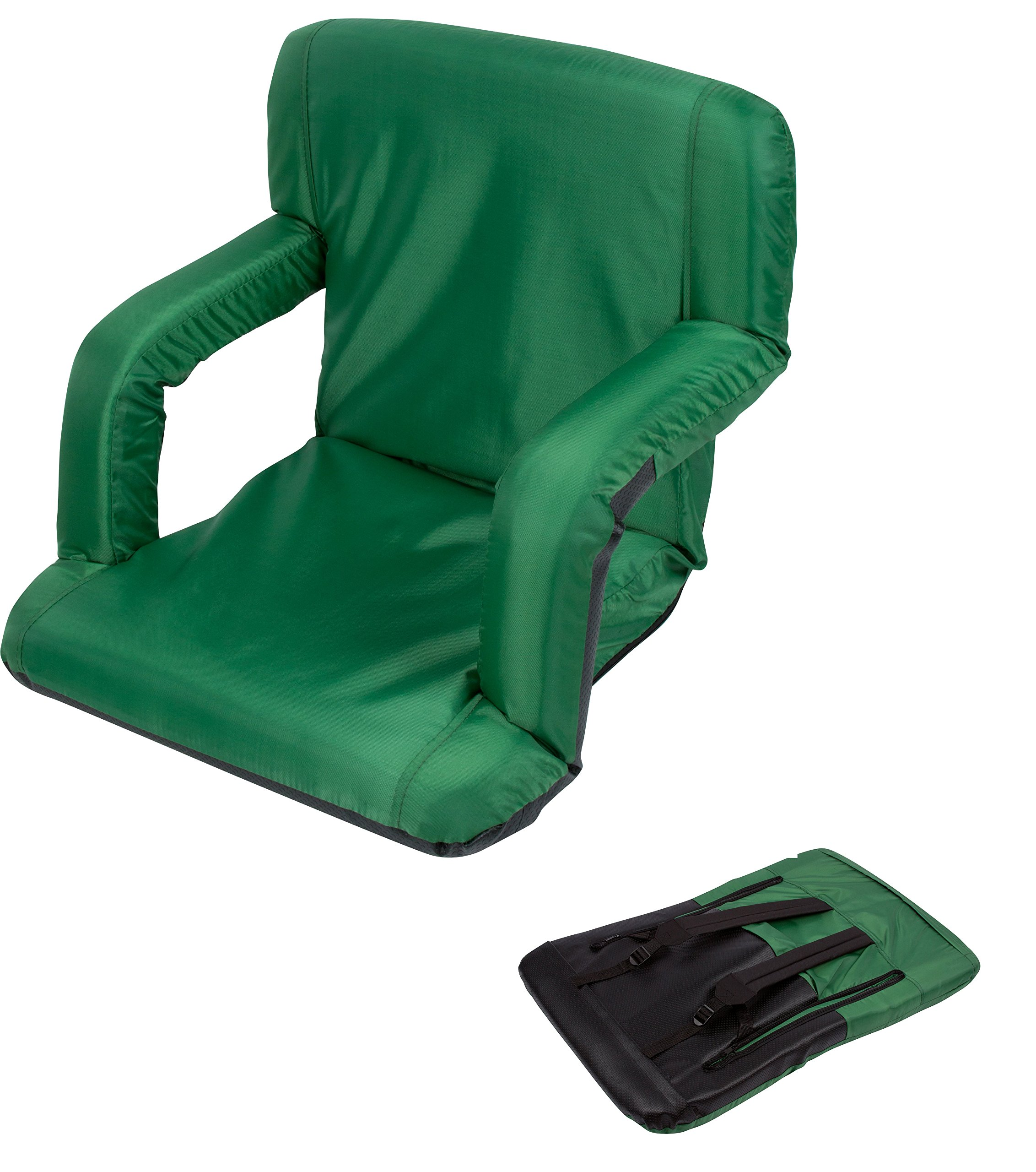 Portable Multiuse Adjustable Recliner Stadium Seat by Trademark Innovations (Green)