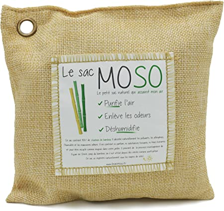 Le sac MOSO Version 500 GR Purificateur d'air, Désodorisant, Absorbeur d'humidité, Naturel et sans Odeur au Charbon de Bambou 500 GR (Paille)