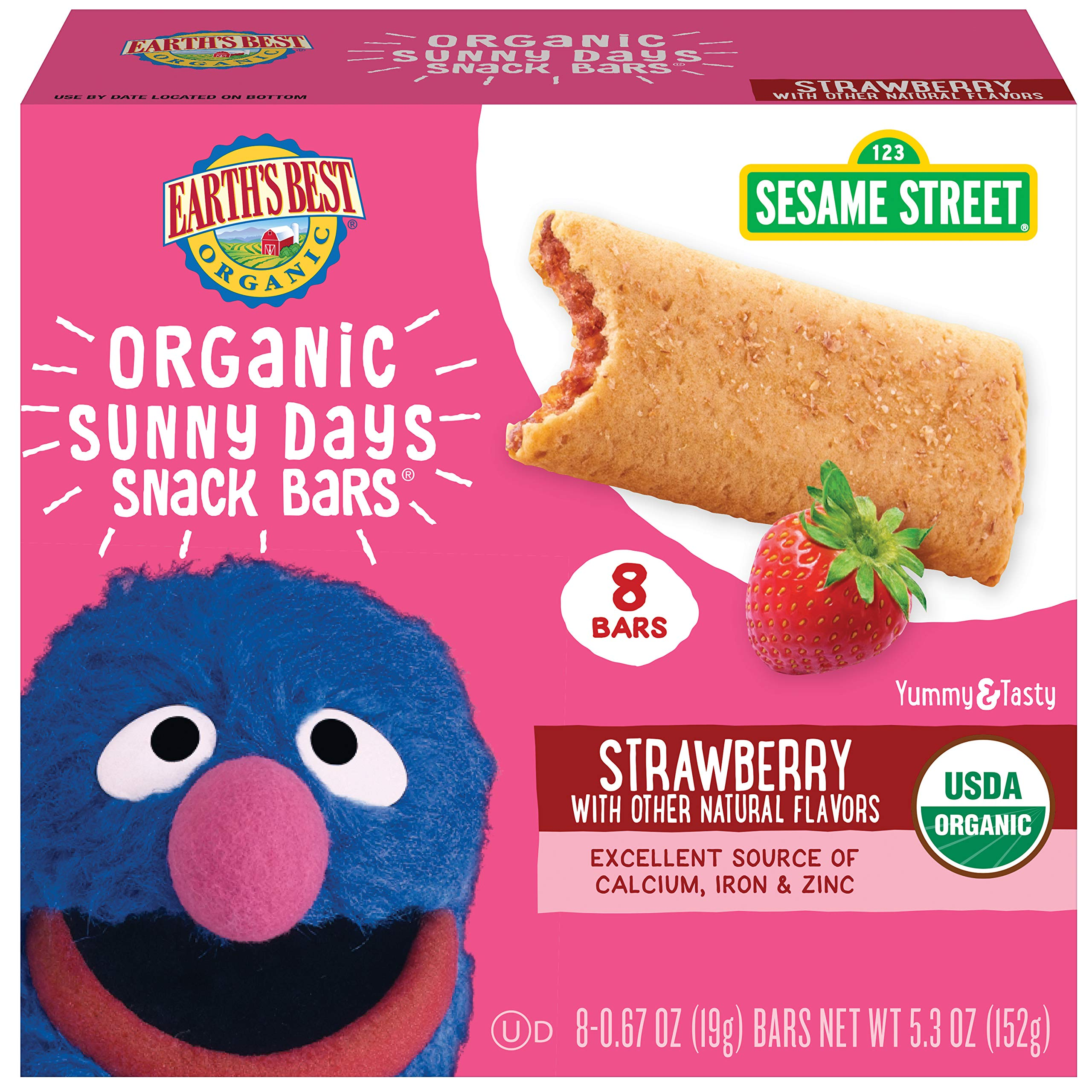 Earth's Best Organic Sesame Street Sunny Day Toddler Snack Bars with Cereal Crust, Strawberries, 8 Count Box (Pack of 6) by Earth's Best