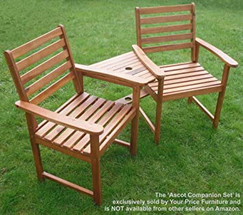Hardwood Garden Bench Companion Set Love Seat Great Outdoor Furniture For Your Garden Or Patio