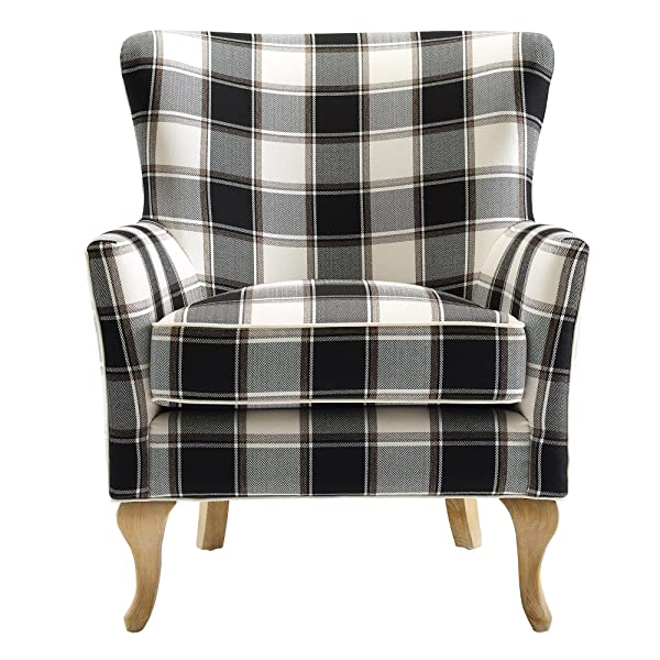 Dorel Living Middlebury Checkered Pattern Accent Chair, Black & White Checkered