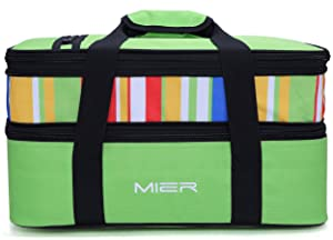 "MIER Insulated Double Casserole Carrier Thermal Lunch Tote for Potluck Parties, Picnic, Beach - Fits 9""x13"" Casserole Dish, Expandable, Green"