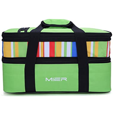 MIER Insulated Double Casserole Carrier Thermal Lunch Tote for Potluck Parties, Picnic, Beach - Fits 9 x13  Casserole Dish, Expandable, Green