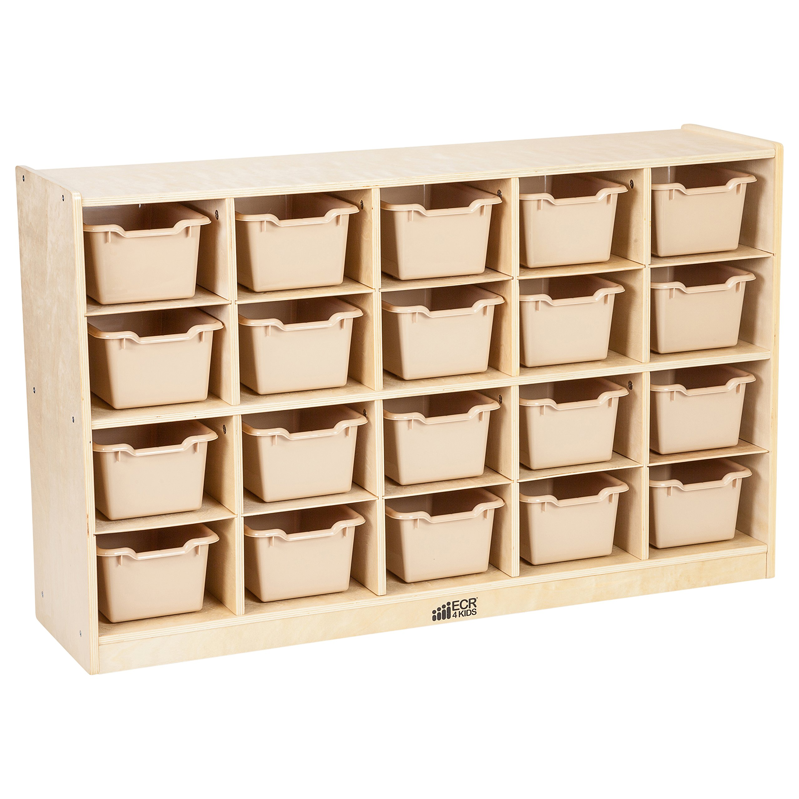 ECR4Kids Birch 20 Cubbie Tray Cabinet with Scoop Front Bins, Sand