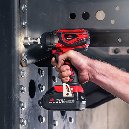 NoCry 20V Cordless Impact Driver Kit – 120 ft-lb 160 N.m Torque, 3000 Max RPM IPM, 1 4 inch Hex Chuck, LED Work Light, Belt Clip 3.0 Ah Battery, Fast Charger Carrying Case Included