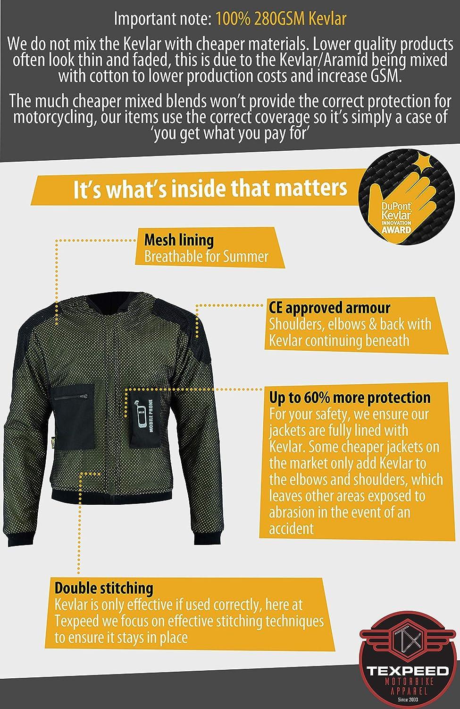 Camisa de motociclista para hombre fabricada con DuPontTM Kevlar®, color negro (S): Amazon.es: Coche y moto