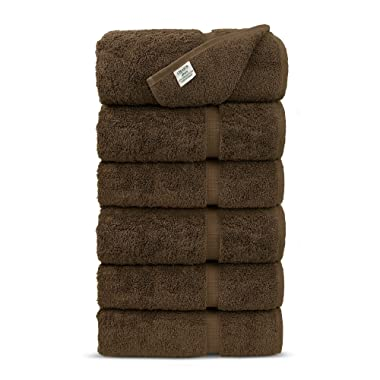 Luxury Premium Long-Stable Hotel & Spa Turkish Cotton 6-Piece Eco-Friendly Hand Towel Set (Cocoa)