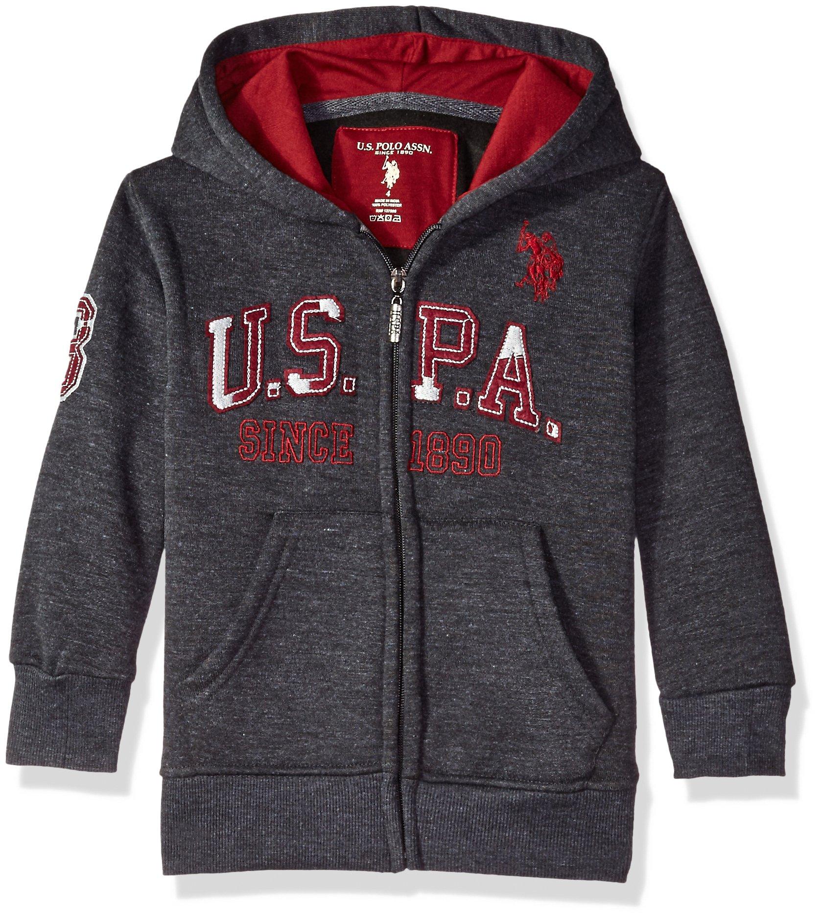 U.S. Polo Assn. Boys' Hooded Zip or Snap Fleece Jacket, All All Star Dark Heather Gray 5/6